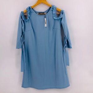 CBR Ruffles Cold Shoulder Mini Dress